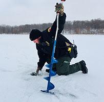 CO measuring ice on lake