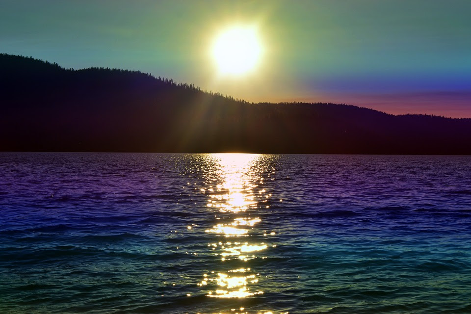 Sunset, Rainbow Colored, Sun, Water, Lake, Hill