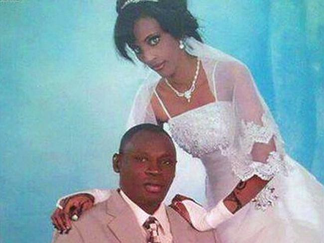 Birth not a joyous occasion ... Meriam Ibrahim Ishag, in a wedding photo with her husband