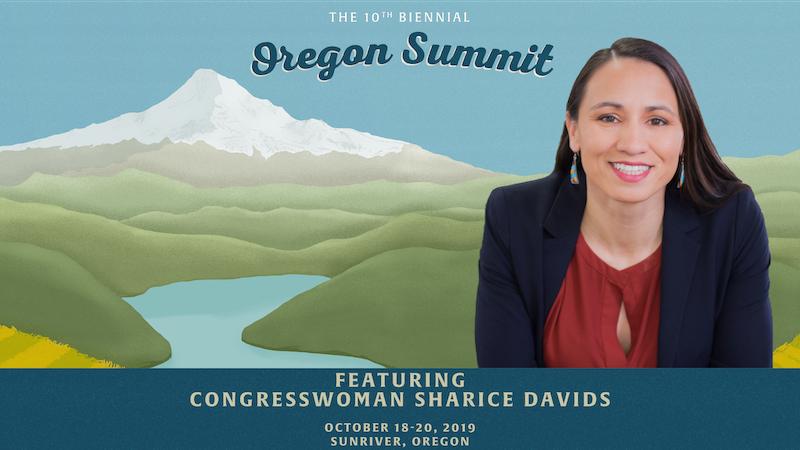 Oregon Summit graphic featuring Keynote Speaker Congresswoman Sharice Davids.