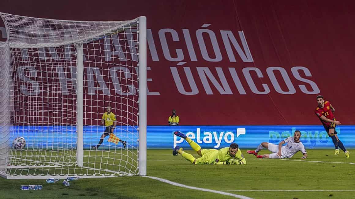 Ferran Torres fires home Spain's second goal.