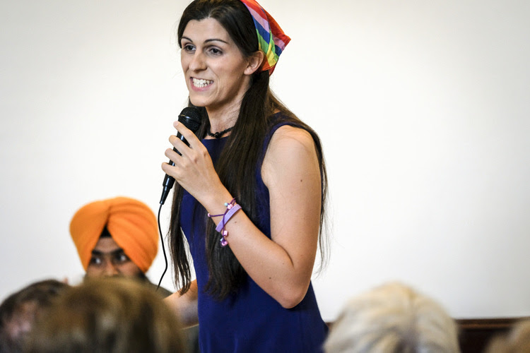 Danica Roem makes her pitch to voters in Manassas, Va. on June 2. (J. Lawler Duggan/The Washington Post)</p>