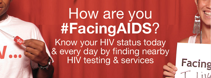 How are you #FacingsAIDS? Know your HIV status today & everyday by finding nearby HIV testing & services.