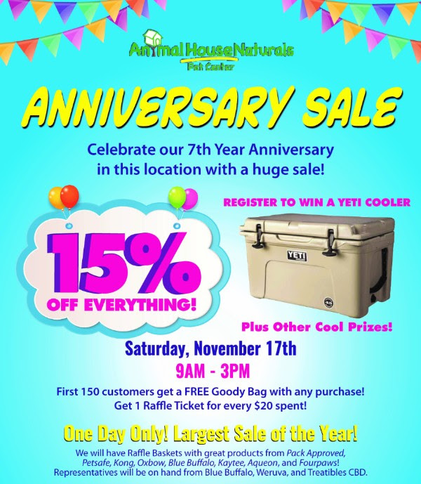 Animal House Naturals Anniversary Sale!