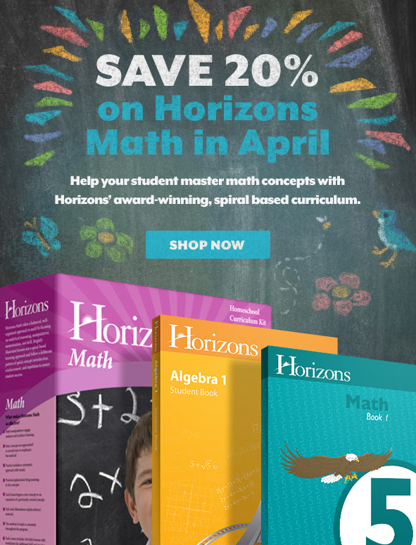 Save 20% on Horizons Math in April