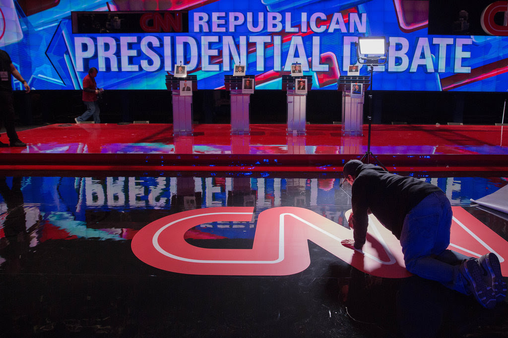 """Preparing the """"undercard"""" stage at the Venetian Resort Hotel Casino in Las Vegas on Monday. At the main-stage event later in the evening, nine candidates will face off."""