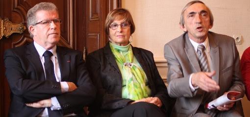 Jean-Pierre Moure (PS), Claudine Troadec-Robert et Michel Passet (dissidents PCF) le 8 janvier 2014 (photo : J.-O. T.)