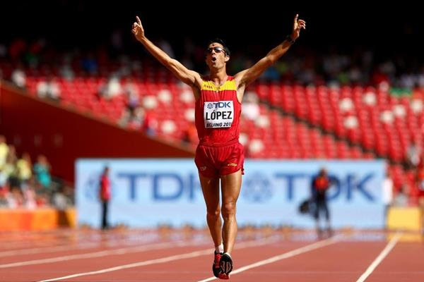 Miguel Angel Lopez wins the 20km race walk at the IAAF World Championships, Beijing 2015 (Getty Images)