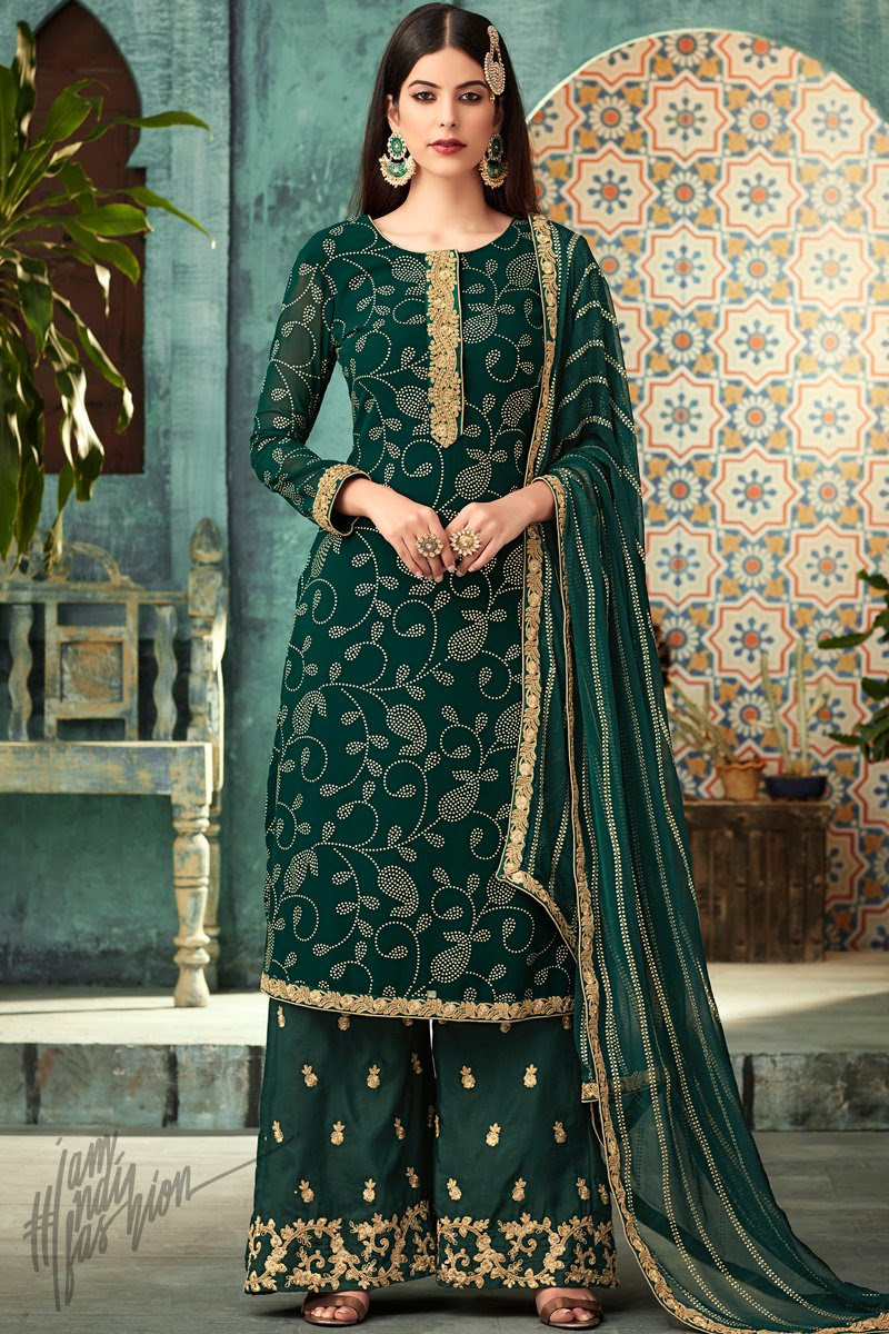 Forest Green Georgette Party Wear Palazzo Suit