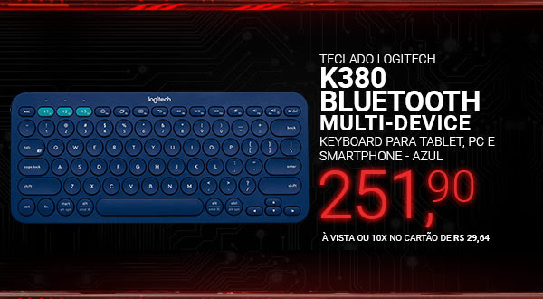 Teclado Logitech K380 Multi-Device Bluetooth Keyboard para Tablet, PC e Smartphone - Azul