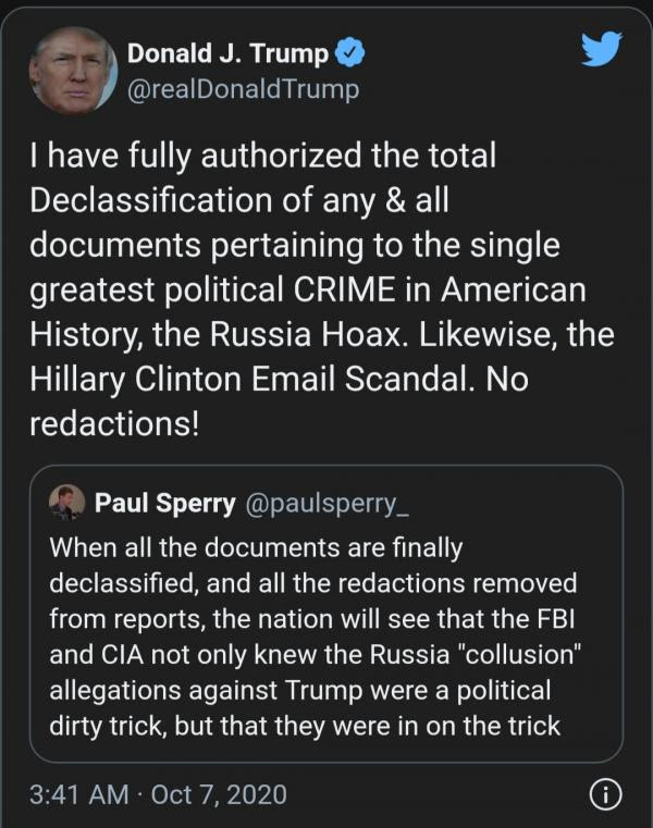 Trump Authorizes 'Total Declassification' of 'Any' and 'All Documents' Pertaining to Russia Hoax, and Clinton Email 8257633bc46ee425a817e45055e5c51d7bff942c9416b0ab5184aa8d56d935aa