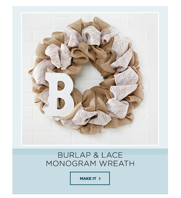 Burlap and Lace Monogram Wreath