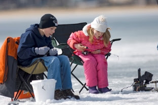 kids enjoying ice fishing