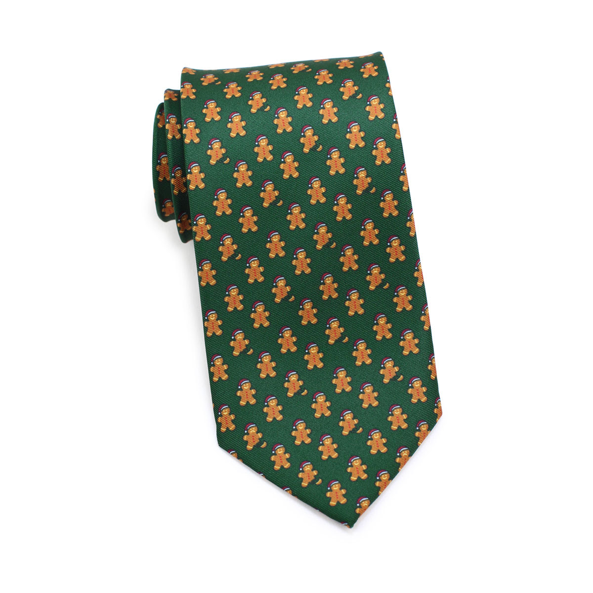 gingerbread men design necktie in dark green