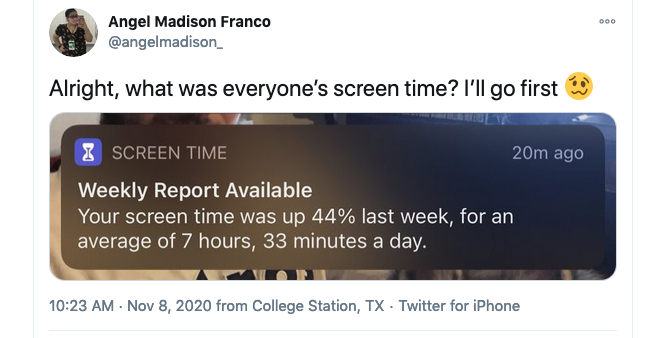 A screen grab of a tweet from Angel Madion Franco