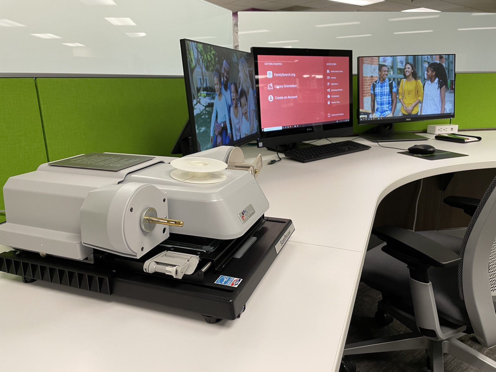 New patron film scanning station in the FamilySearch Family History Library