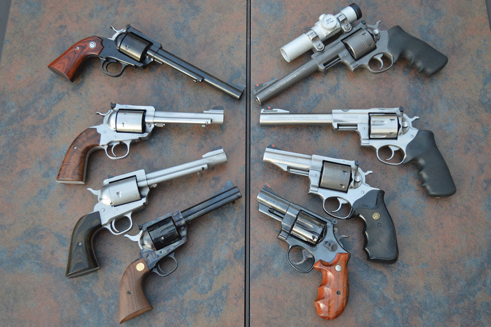 Single-action (left) and double-action (right) revolvers come in nearly every shape and size.
