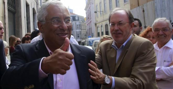 El líder del Partido Socialista portugués, Antonio Costa, durante un acto de campaña. - REUTERS
