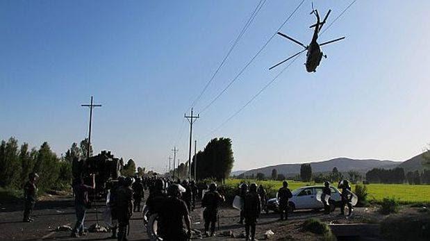 Tía María: piedra impactó helicóptero PNP y lo dejó inoperativo