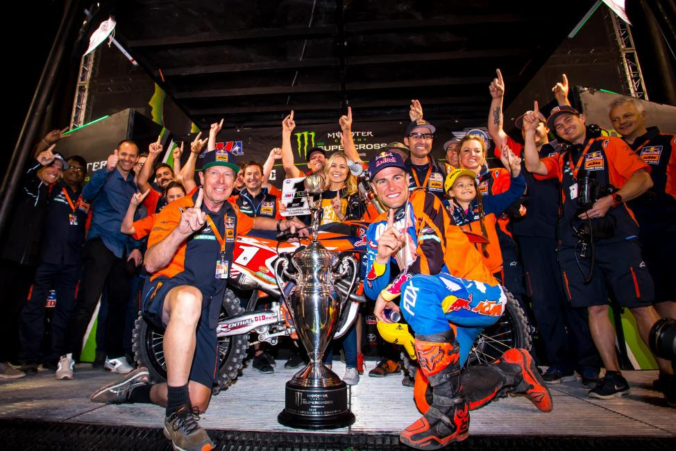 Dungey endured through the toughest challenge of his career to win a fourth supercross title in Las Vegas.Photo Courtesy: Jeff Kardas