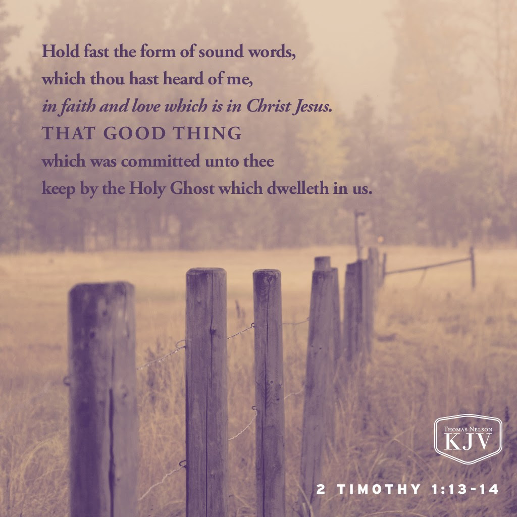 13 Hold fast the form of sound words, which thou hast heard of me, in faith and love which is in Christ Jesus. 14 That good thing which was committed unto thee keep by the Holy Ghost which dwelleth in us. 2 Timothy 1:13-14