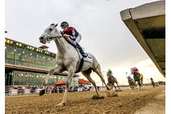 Silver Dust wins the Louisiana Stakes at Fair Grounds