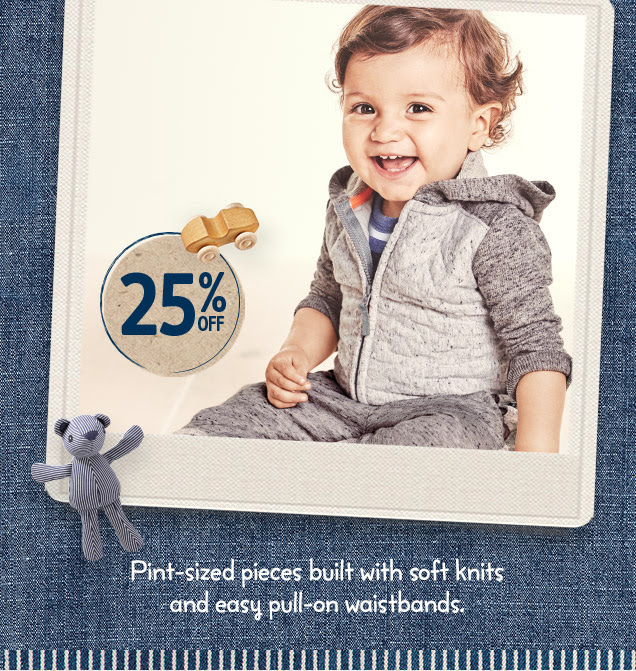 25% off | Pint-sized pieces built with soft knits and easy pull-on waistbands.