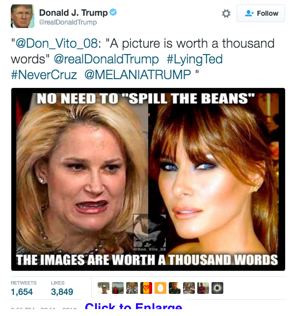 Trump Cruz Wife Tweet Picture