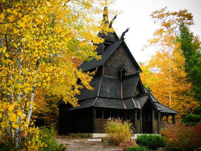 Fashioned                                                           after the                                                           Borgund Stave                                                           Church, the                                                           Trinity                                                           Evangelical                                                           Lutheran                                                           Church in                                                           Washington                                                           Island, Wis.,                                                             looks                                                           especially                                                           beautiful                                                           during the                                                           fall season.