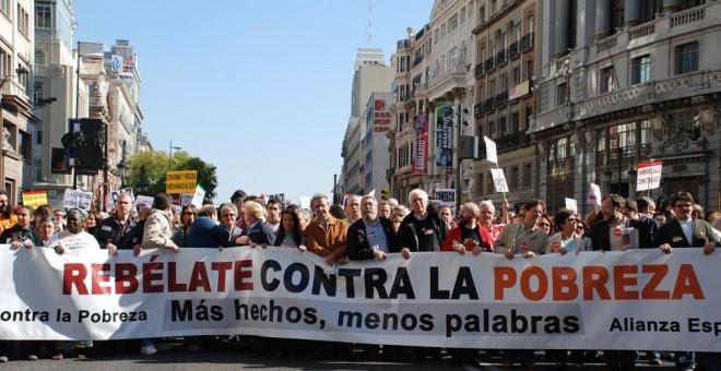 Ciudadanos se manifiestan contra la pobreza en Madrid.- EFE