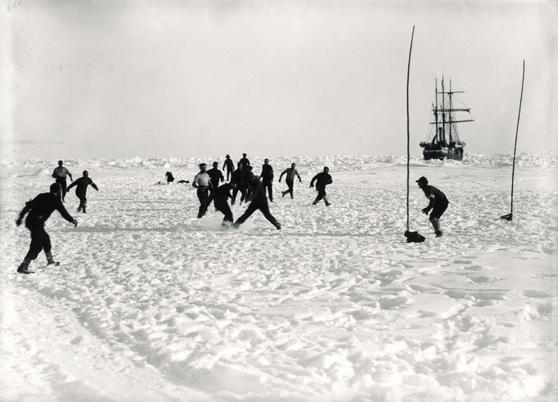 Playing soccer on the ice