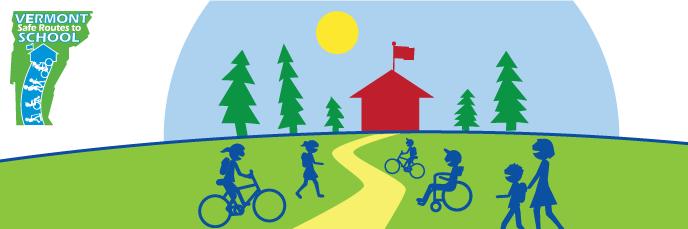 banner graphic cartoon of children walking and biking to school