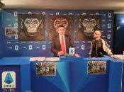 An anti-racism campaign artwork by Italian artist Simone Fugazzotto featuring three side-by-side paintings of apes is presented by Italian soccer league Serie A during a news conference in Milan, Italy, December 16, 2019.
