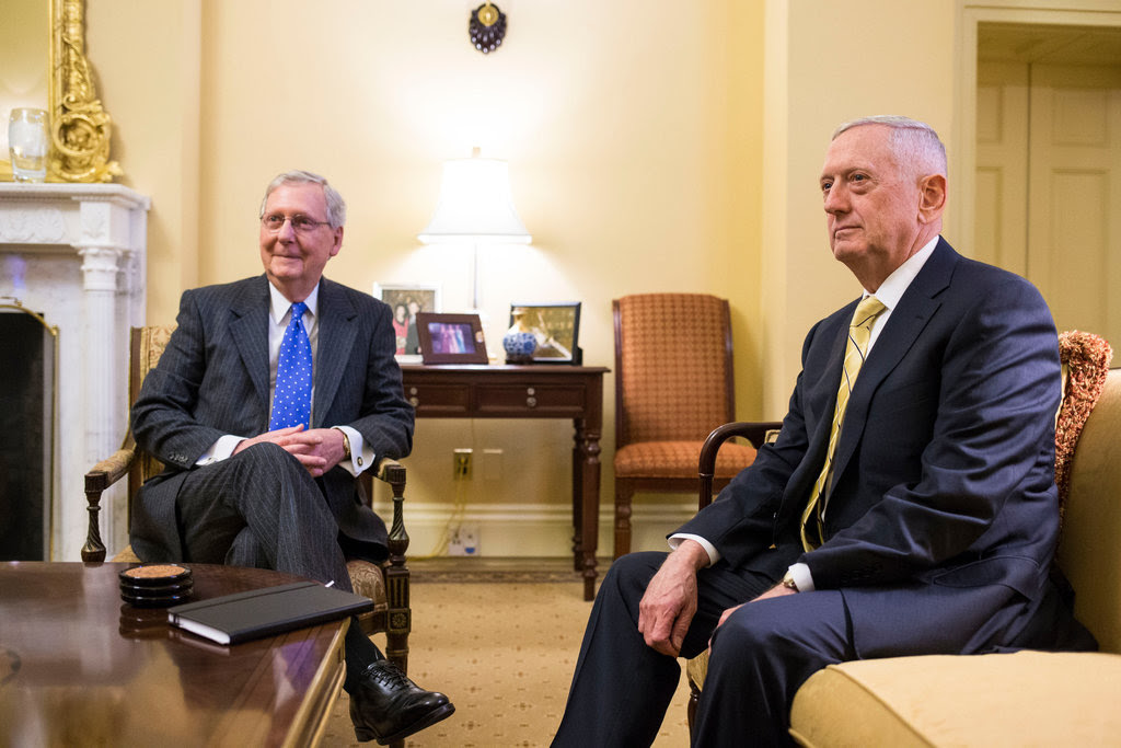 James N. Mattis, Mr. Trump's nominee for secretary of defense, met with Mitch McConnell, the Senate majority leader, at the Capitol on Wednesday.