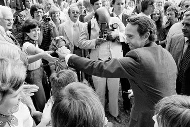 Senator Bob Dole, Republican of Kansas, the running mate of President Gerald R. Ford, campaigning in 1976 in Fountain Inn, S.C.