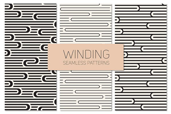 Winding Seamless Patterns. Set 5