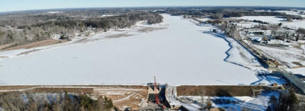 aerial view of snow- and ice-covered water near Edenville Dam