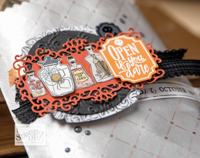 Stampin' UP! Halloween Monsterr Bash paper bags and Ornate dies for handmade treats, home decor and party favors!! Shop online www.PattyStamps.com