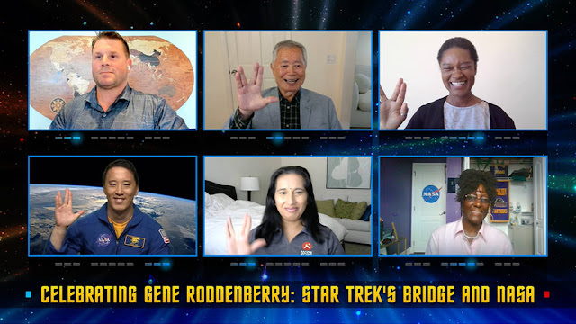 Rod Roddenberry, George Takei, Tracy Drain, Jonny Kim, bottom left, Swati Mohan, and Hortense Diggs participate in a panel discussion as part of the program Celebrating Gene Roddenberry: Star Trek's Bridge and NASA.