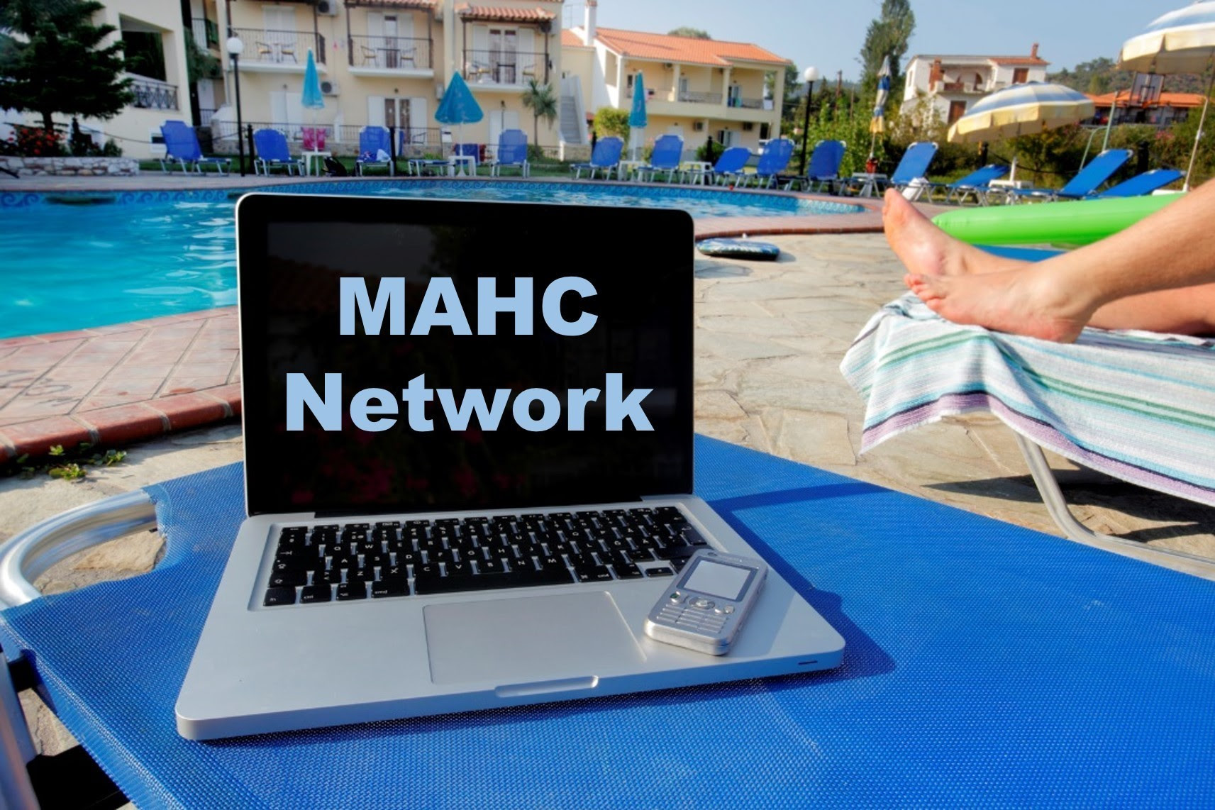 MAHC network laptop near pool
