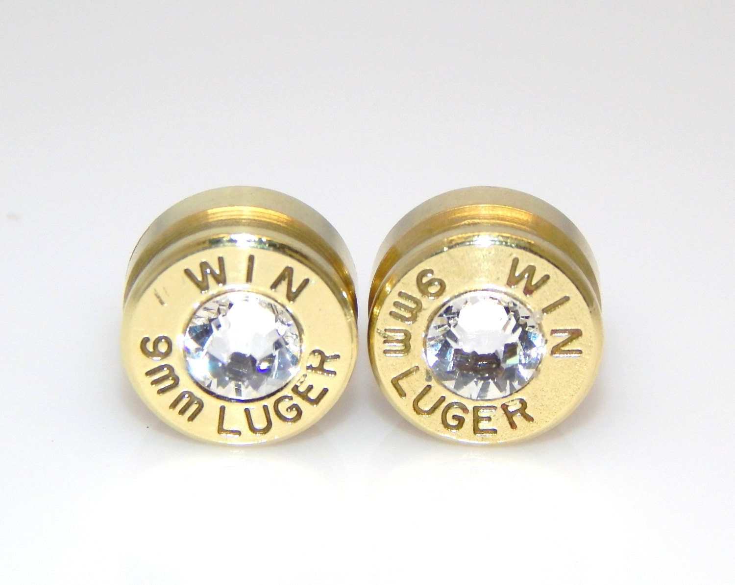 Bullet Earrings. April Birthstone. Diamond . 9mm Luger