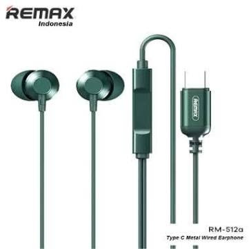 Remax RM-512a Metal Wired Earphone Type-a For Type C Cable Headset in Ear