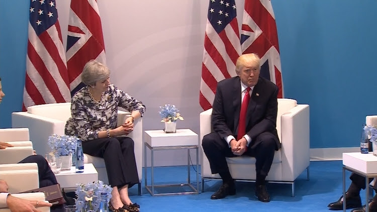 Donald Trump met British Prime Minister Theresa May on July 8.