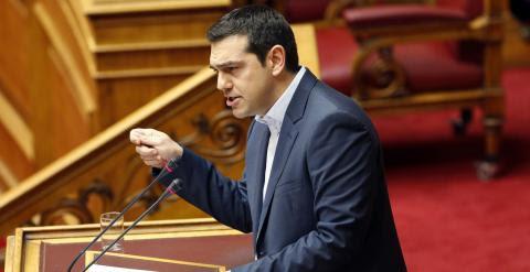 Alexis Tsipras, durante su intervención en el Parlamento griego. - REUTERS