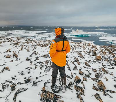 A passenger overlooks the Russian Arctic