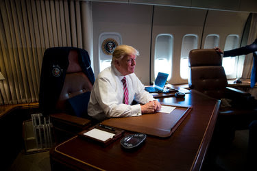 President Trump in his office aboard Air Force One on Thursday.