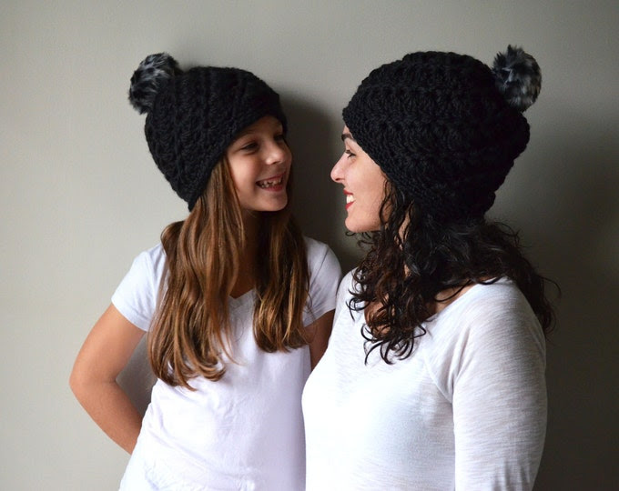 Matching Silas Hats in Black w/ Faux Fur Leopard Pompom - Size Adult AND Child - *MADE to ORDER*