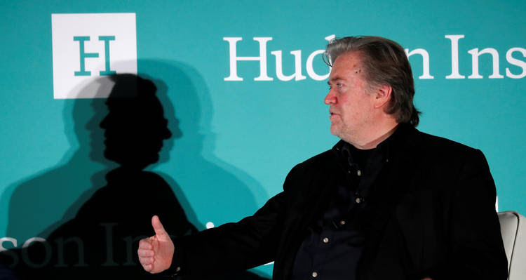 Steve Bannon speaks at the Hudson conference. (Kevin Lamarque/Reuters)