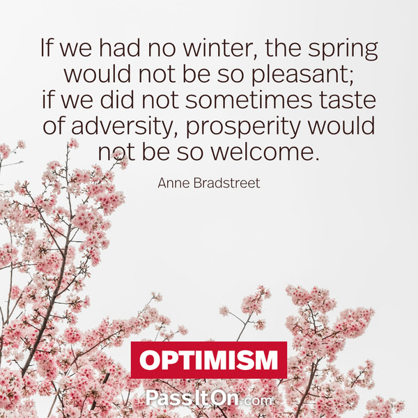If we had no winter, the spring would not be so pleasant; if we did not sometimes taste of adversity, prosperity would not be so welcome. Anne Bradstreet