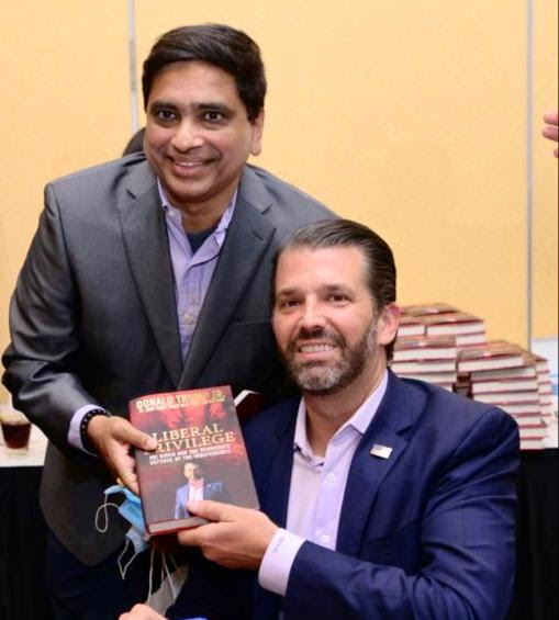 "Mr. Bhagi Nanda Sandilya with Mr. Donald Trump Jr. at the success of the book ""Liberal Privilege"" at New York."